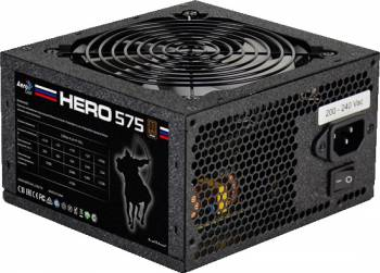 Блок питания Aerocool ATX 575W Hero 575 80+ bronze (24+4+4pin) APFC 120mm fan white LED 5xSATA RTL